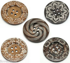 10 Mixed Pattern 4Holes Wood Big Sewing Buttons for Sweater Overcoat 6cm B19222