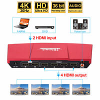 4K 2x4 HDMI Splitter Amplifier Repeater Support 2 in 4 out SPDIF HDCP1.3 3D EDID