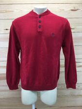 Chaps Mens Sweater Size Medium Red 1/4 Button Down Cotton Pullover Jumper B67