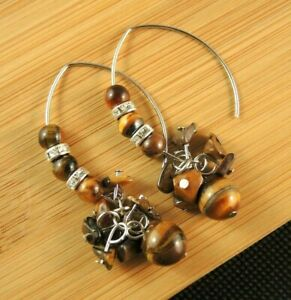Tigers Eye Gemstone Bohemian Dangle Earrings with Oval Hooks and Beads #321