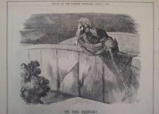 """7x10 """"punch Cartoon 1891 sur le pont squelette"""