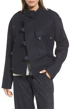 $550 Nordstrom Signature Wool Sculpted Jacket Coat Pronounced Button Navy L NICE
