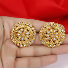 Antique Indian Ethnic Gold Tone Pearl Stud Tops Earring Bollywood Jewelry