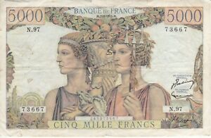 RARE BANKNOTE FRANCE 5000 FRANCS YEAR 1952 - DIFFICULT