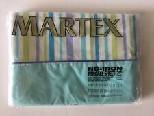 MARTEX No-Iron Percale Twin Flat Sheet West Point Pepperell Striped Blue Green
