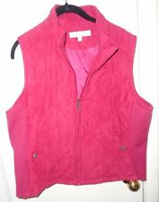 L Ladies Womens Croft & Barrow Vest Red Quilted Velvet Feel Sweater Sides Pocket