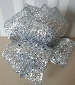"""Christmas Silver Sequined Ribbon * Wired Edged Sparkly Wreath Gift Wedding 2.5"""""""
