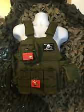 """AR500 Certified Steel 10""""x12"""" With OD Rothco Carrier, Molle & Side Plates"""
