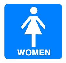 "(4""x 4"") ONE GLOSSY STICKER, ""WOMEN RESTROOMS"", FOR INDOOR OR OUTDOOR USE"