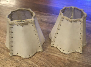 Lot of 2 Vintage Rawhide Lamp Shades, Clip On Chandalier Sconce Lights - 1950s