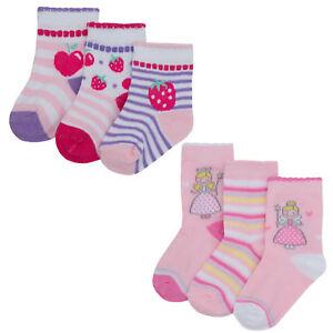 3 Pairs Baby Girls Fairy & Strawberry Socks Pack Of 3 Socks 0-0 0-2.5 3.5-5 B695