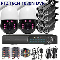 PTZ ZOOM 16 CH CHANNEL 720P DVR Video Recorder 8 Bullet Camera Security System