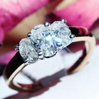 Platinum 14k yellow gold 1.96ct diamond 3 stone size 7 engagement ring 4.4g C-36
