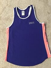 NWT VICTORIA SECRET PINK CAMPUS COTTON TANK TOP BLUE PINK LOGO ON SIDES , SMALL