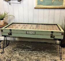 Industrial retro vintage style coffee table storage glass top display