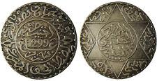 MAROC ,  HASSAN  I°  ,  2  1/2  DIRHAM  ARGENT  1299  ,  QUALITÉ