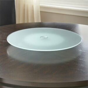 Steve Silver Avenue Clearfrost Glass Turntable Lazy Susan