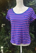 Jack Wills Size UK 10 Womens Blue Pink Casual Top W/ Logo Official 100% Cotton