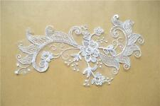 Embroidery Wedding Motif  Bridal Flora Lace Trim Sew on Lace Applique 1 Pair