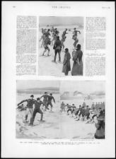 1894 Antiguo impresión de América del Norte Canadá QUEBEC raquetas de nieve Club Lord Aberdeen (173)