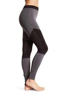 Hue Leggings Sz M Castlerock Grey Moto Mesh Active Jersey Workout Legging U17536