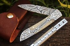 "DKC-37-CB VICTORIAN Damascus Folding Pocket Knife Camel Bone 7.75"" Long, 4.5"" Fo"