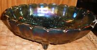 Indiana Press Glass Fruit Bowl Oval Harvest Pattern Depression Iridescent Blue
