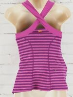 LUCY Activewear Tank Top Racerback/Criss Cross Purple Striped Size L Lucypower