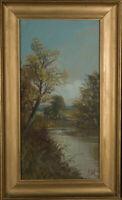 Signed & framed Early 20th Century Gouache - Rural River Scene
