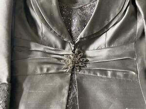 Luis Civit Ladies 3 Piece Formal Wedding Evening Silver Skirt Suit Size 8