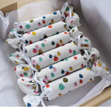 Set of six Handmade Reusable Ecofriendly Cotton Fabric Christmas Crackers  Baubl