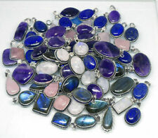 Moonstone Amethyst Mixed Gemstone Pendants Lot 925 Sterling Silver Plated MWL-6