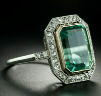 Engagement Vintage Art Deco Green Sapphire Ring 14K White Gold Over 5 Ct Diamond