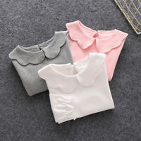 FA- Baby Girl Cotton Peter Pan Collar Long Sleeve Solid Color Top T-shirt Hot Se