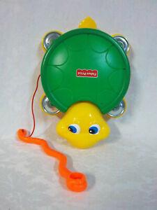 "9"" x 7"" 1999 FISHER PRICE Musical TURTLE TAMBOURINE/DRUM Preschool TOY"