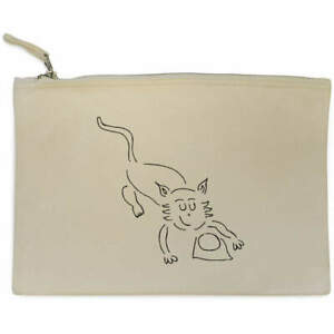 'Cat With Milk' Canvas Clutch Bag / Accessory Case (CL00020707)