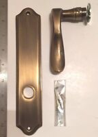 Bronze Dummy Lever with Matching Escutcheon, Antique Brass Finish, Left Handed
