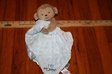 Carters Blue Monkey Lovey Security Blanket Rattle I Love Mommy Minky Dot Satin