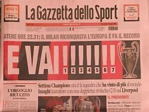 MILAN CAMPIONE D'EUROPA - Gazzetta dello sport 2007 calcio champions - ORIGINALE