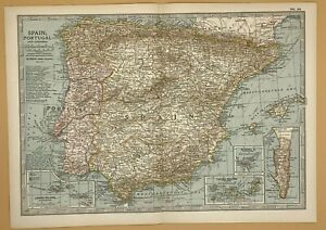 Original  Encyclopaedia Britannica Map of Spain Portugal and Andorra from 1903