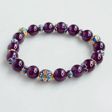 10.5mm Natural Brazilian Purple Amethyst Beads Bracelet BDCF27