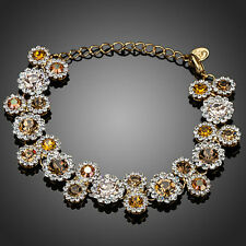 Brown Champagne Gold Swarovski Crystal Element Rhinestone Bridal Gift Bracelet