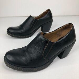 BOC Born Concept Black Leather Ankle Boots Heel Bootie Shoes Size 10 Slip On