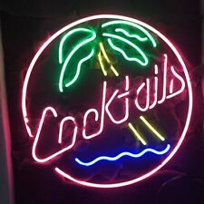 "New Cocktails Palm Tree Bar Cub Party Light Lamp Decor Neon Sign 17""x14"""