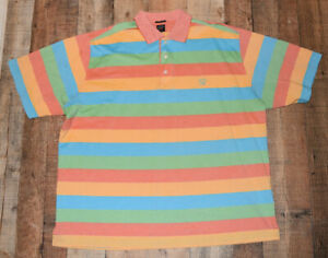 Paul & Shark Yacht Club S/S Polo Golf Shirt Men Big Tall 2XB Multi Color Striped