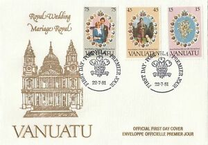 Vanuatu Scott 308-10 FDC - 1981 Royal Wedding