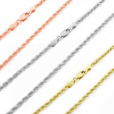 "14K Rose, White or Yellow Gold Italian 2.5mm Rope Chain Pendant Necklace 14""-30"""