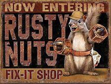 Rusty Nuts  ,Retro metal Aluminium Sign vintage Decorative Man Cave Shed Garage
