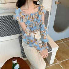 Lady Chiffon Blouse Floral Cold Shoulder Shirt Cropped Top Ruffle Frill Pleated