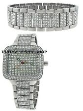 SET OF 2  BLING PAVE CRYSTALS SILVER TONE RECTANGLE WATCH+MATCHING BRACELET-9011